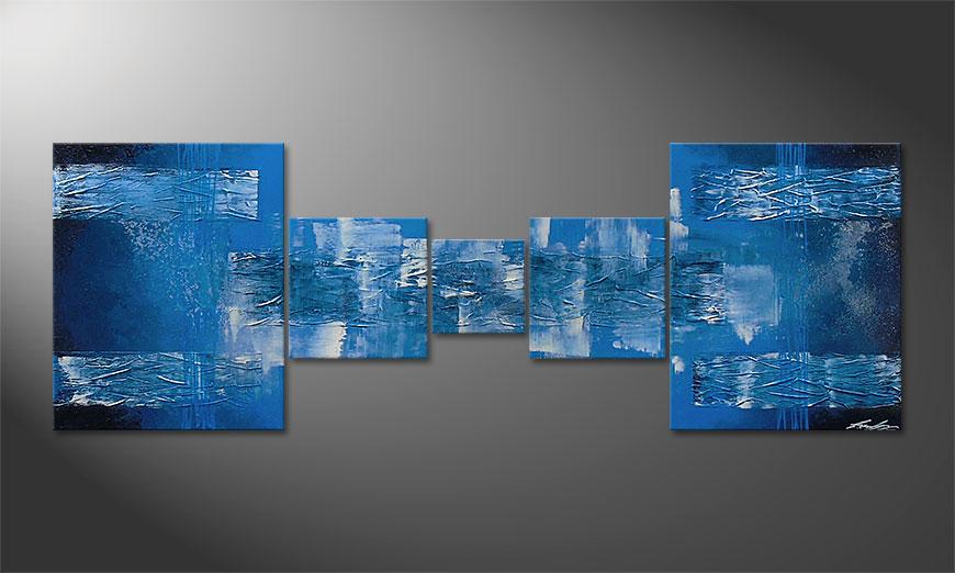Le tableau mural Blue Waves 180x60x2cm