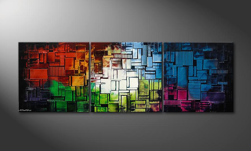 Le tableau mural Color Cubes210x70x2cm