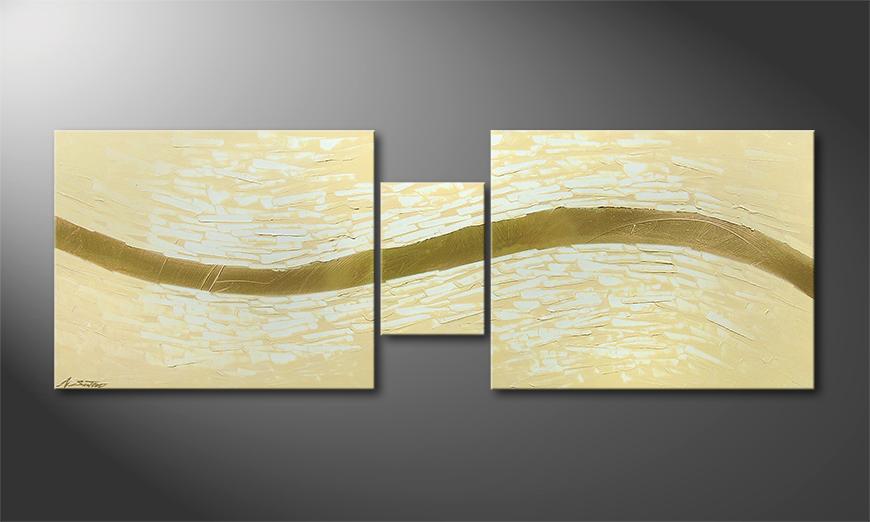 Le tableau mural Golden Stream 140x50x2cm