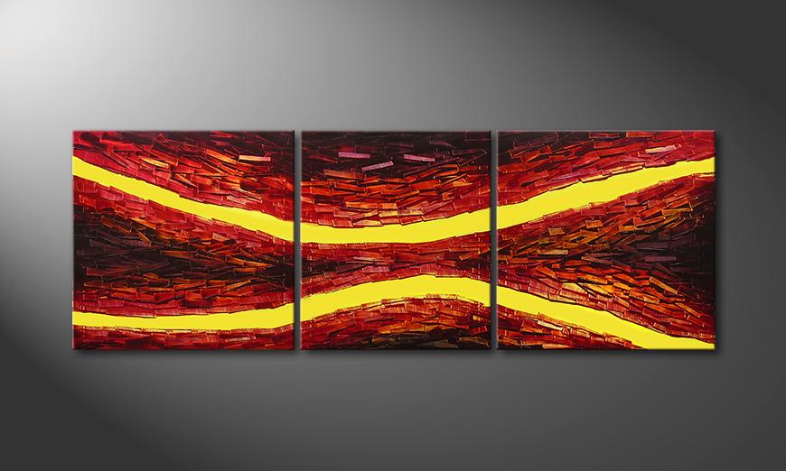 Le tableau mural Lava Splits 200x70x2cm