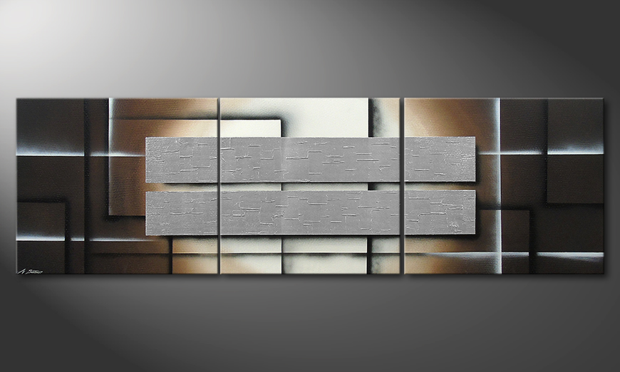 Le tableau mural Shine of Silver in 260x80x2cm