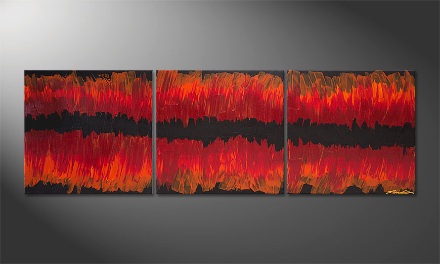 Le tableau mural Split Red 180x60x2cm