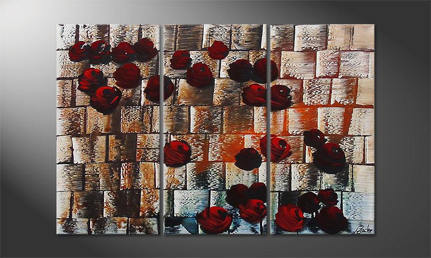 Le tableau mural Storm of Roses 120x80x2cm