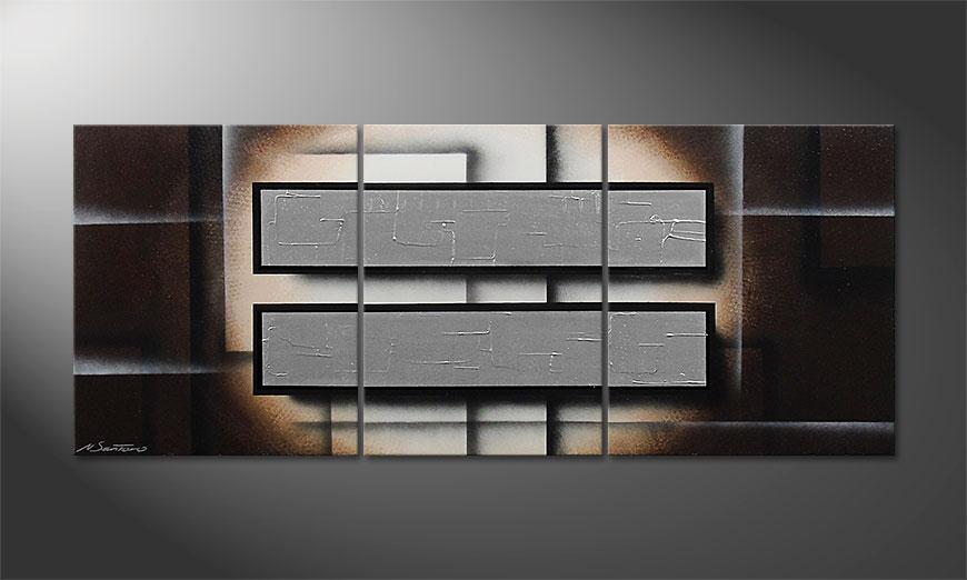 Le tableau mural moderne Silver Mirrors 170x70x2cm