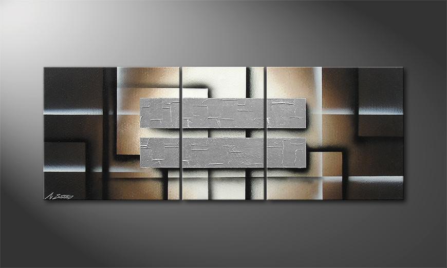 Tableau pour salon Silver Shine 130x50x2cm