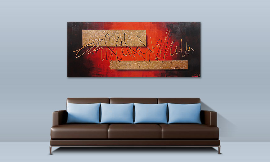 Le tableau mural Golden Works 180x80cm