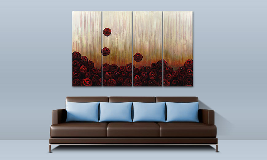 Le tableau mural Bed of Roses 160x100cm