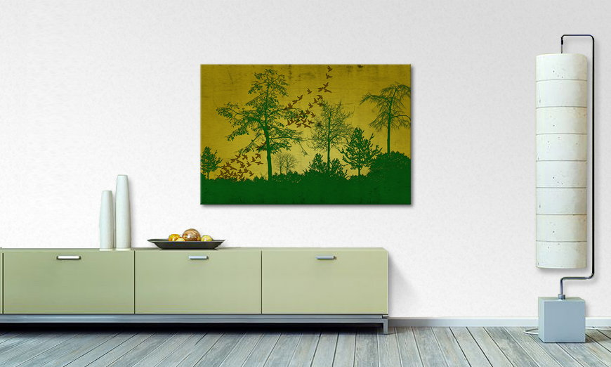 Le tableau imprimé Birds in Forest