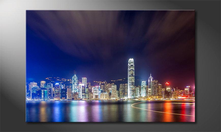 Le tableau imprimé Hongkong at Night