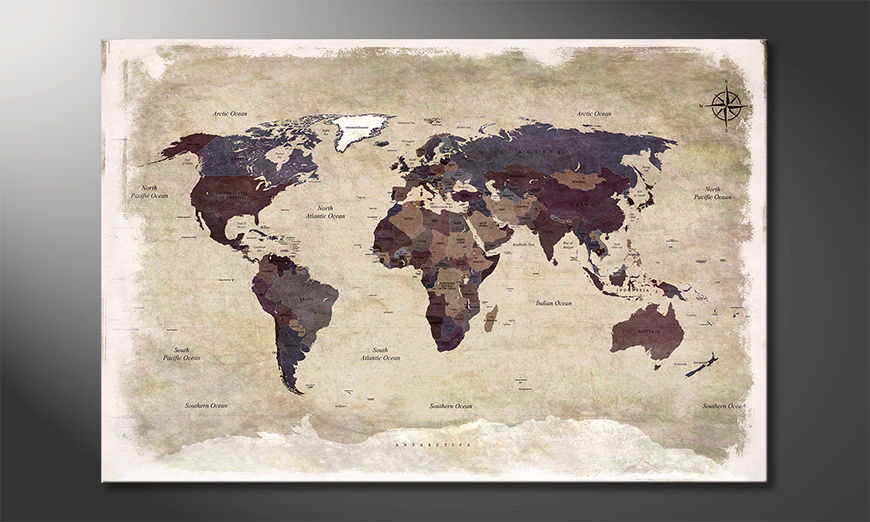 Le tableau mural Old Worldmap 3