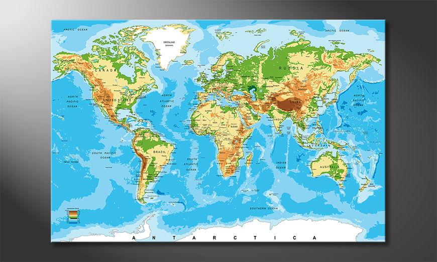 Le tableau mural Physical Worldmap