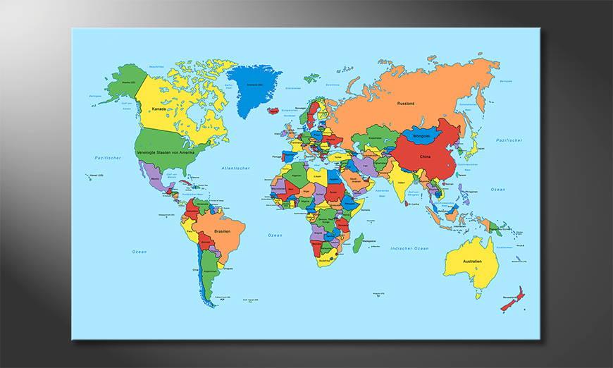 Le tableau mural Worldmap Classic
