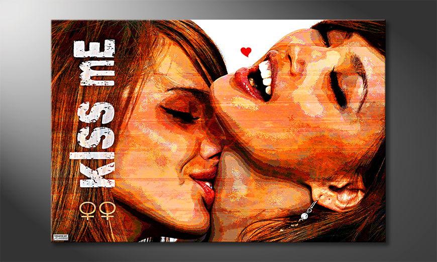 Le tableau mural moderne Kiss Me