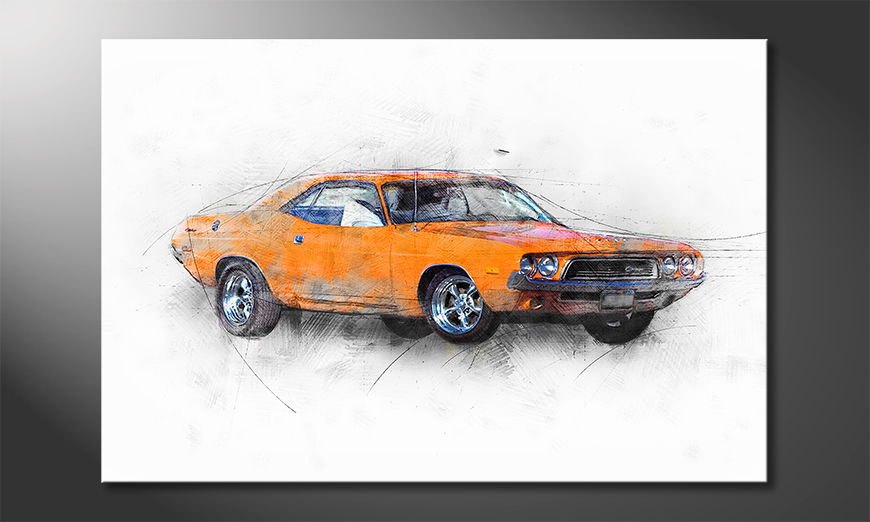 Limpression-sur-toile-Orange-Muscle-Car