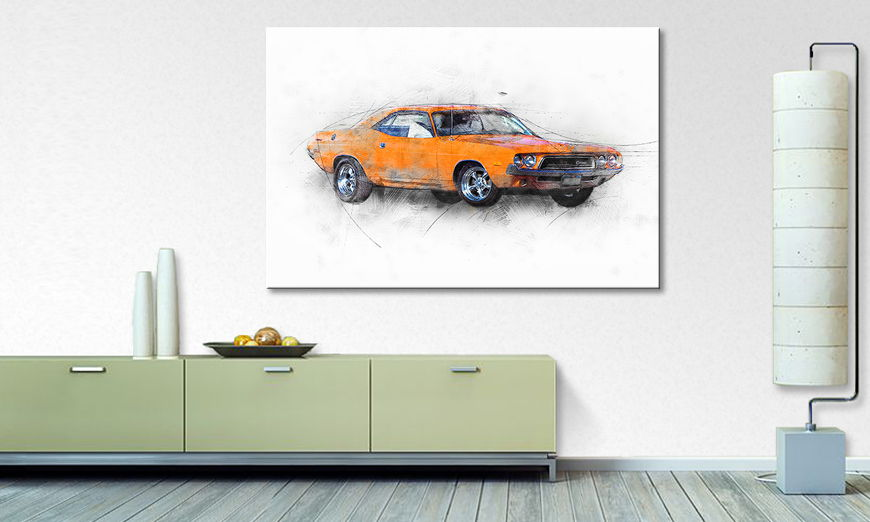 Limpression sur toile Orange Muscle Car