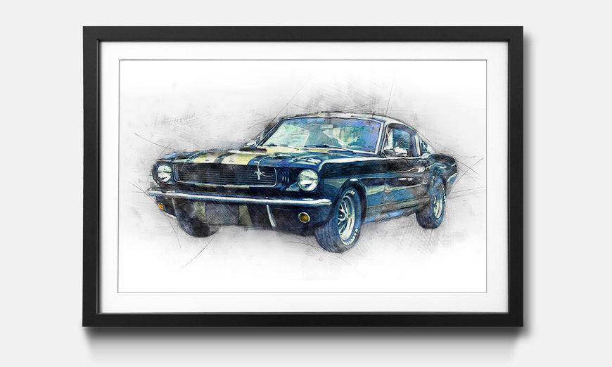 La reproduction encadrée Black Mustang