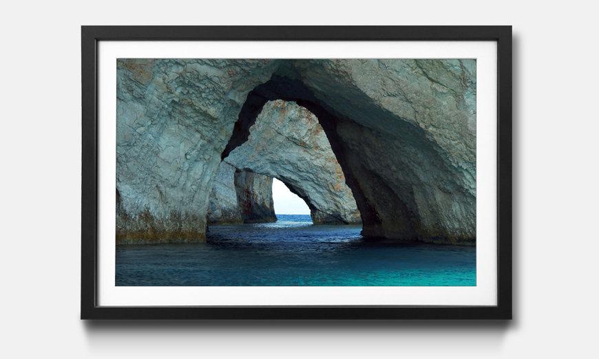 La reproduction encadrée Blue Caves