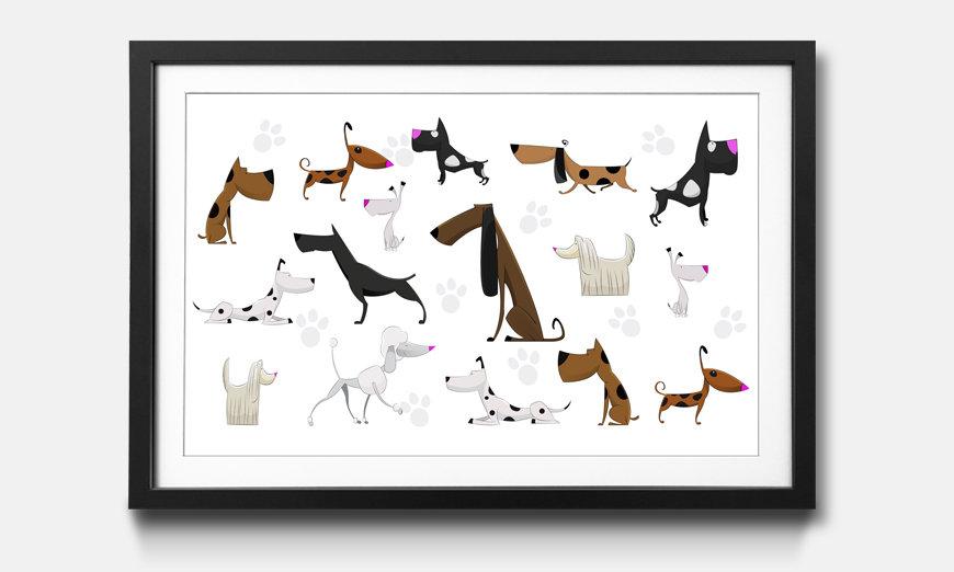La reproduction encadrée Cartoon Dogs