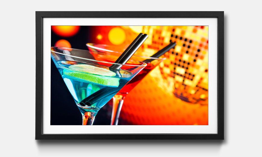 Tableau encadrée: Blue And Red Cocktail