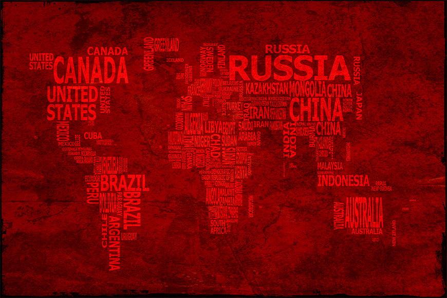 Intissé déco Carte du Monde 18 120x80cm et plus