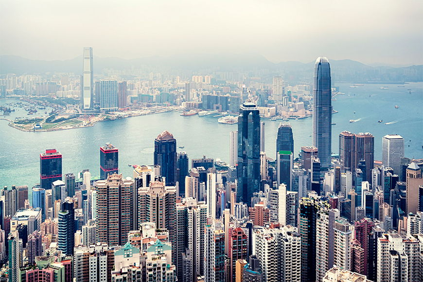 Intissé déco Hongkong Skyline 120x80cm et plus