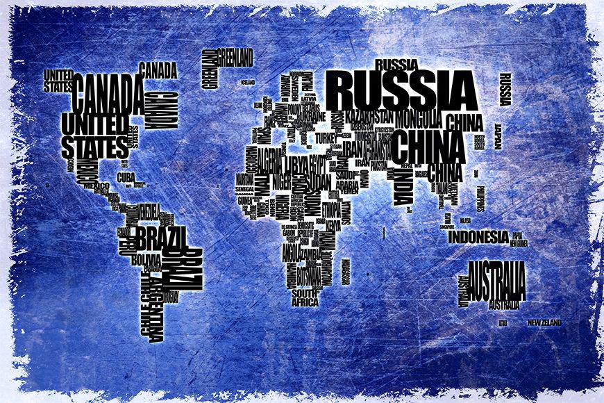Papier intissé Carte du Monde 2 120x80cm et plus