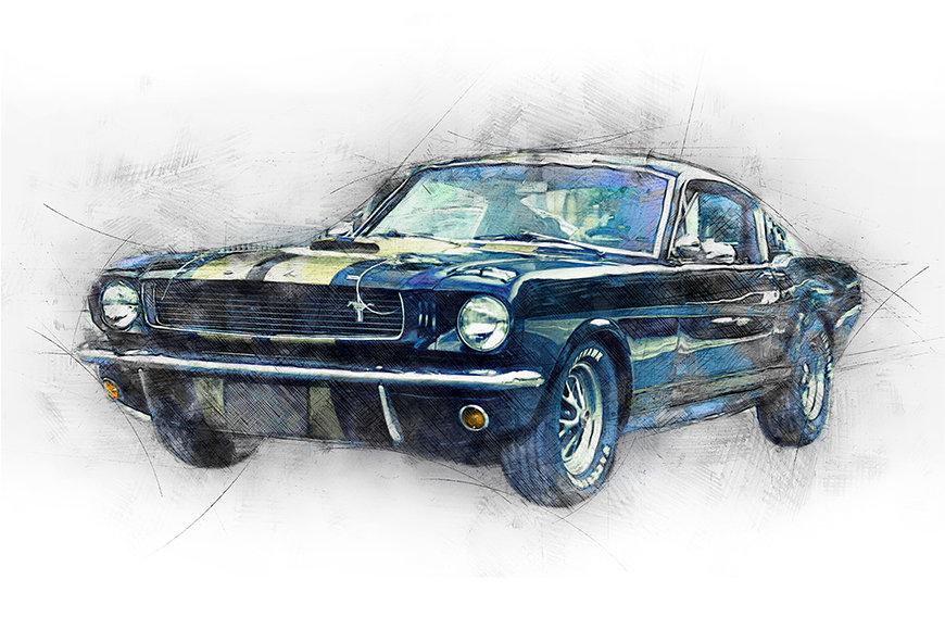Papier peint Black Mustang