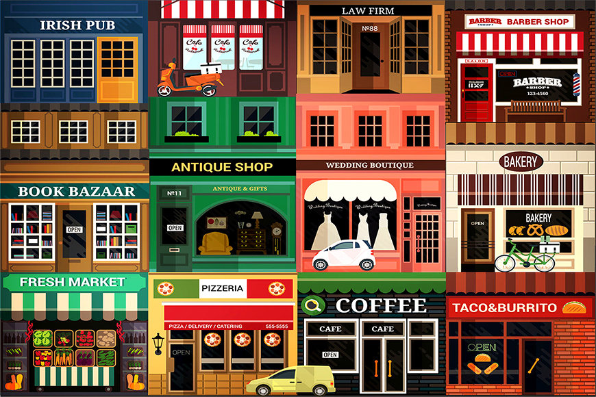 Papier peint Funny Shops