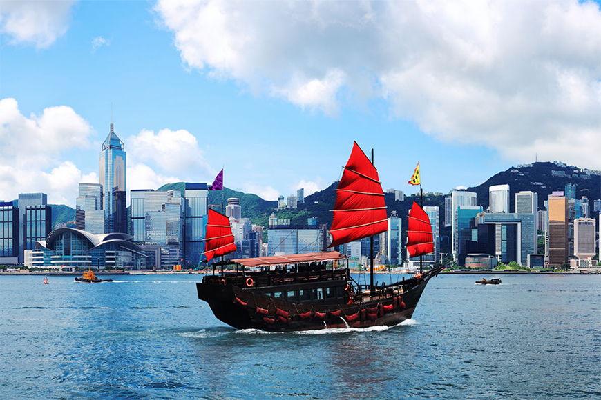 Papier peint Hongkong Boat 120x80cm et plus