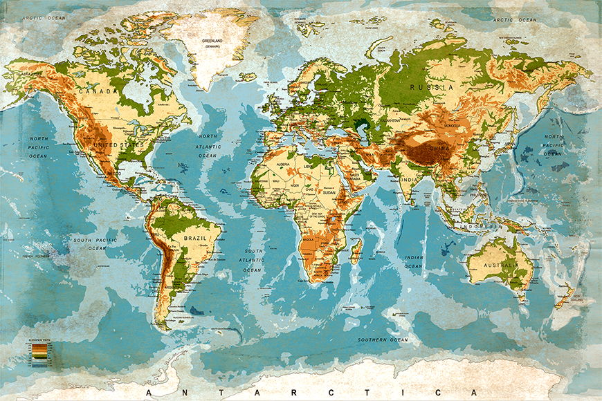 Papier peint Used Worldmap 120x80cm et plus
