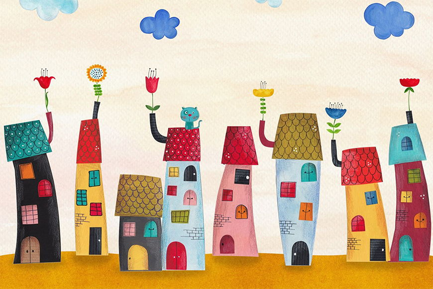 Papier peint Ville colorée 120x80cm et plus