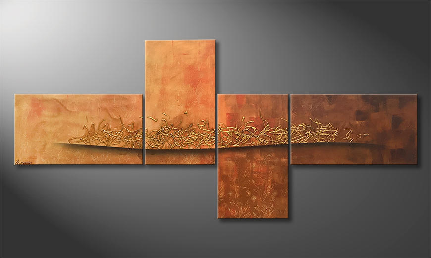 Le tableau moderne Golden Flow 220x100x2cm