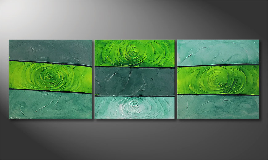 Le tableau moderne Green Roses 225x75x2cm
