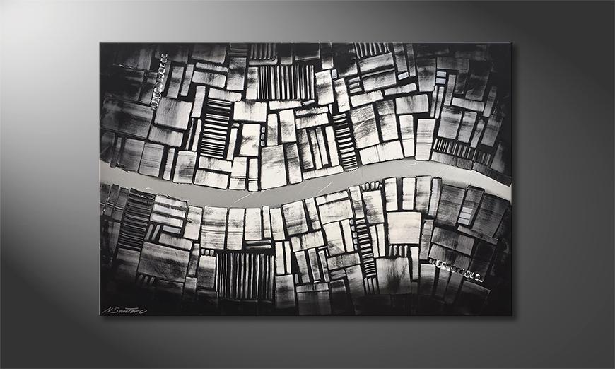 Le tableau mural Flowing Chrome 120x80x2cm