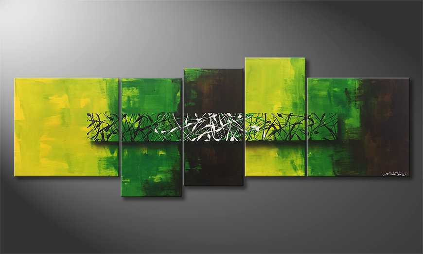 Peinture sur toile Green Night 190x70x2cm